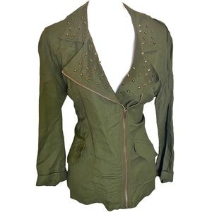 Forever 21 | Olive Green thin bronze studs jacket